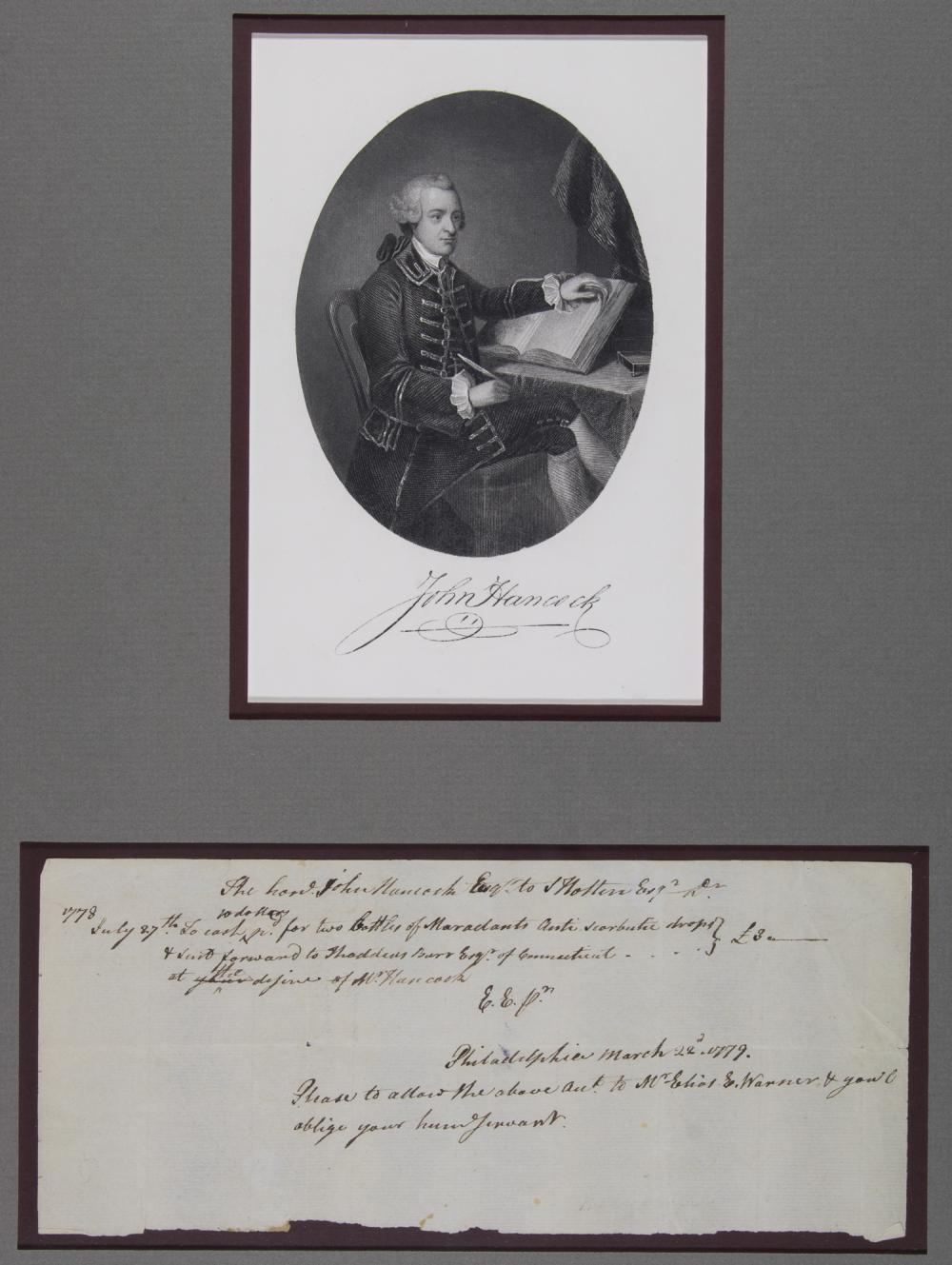 JOHN HANCOCK MEDICAL BILL, 1778