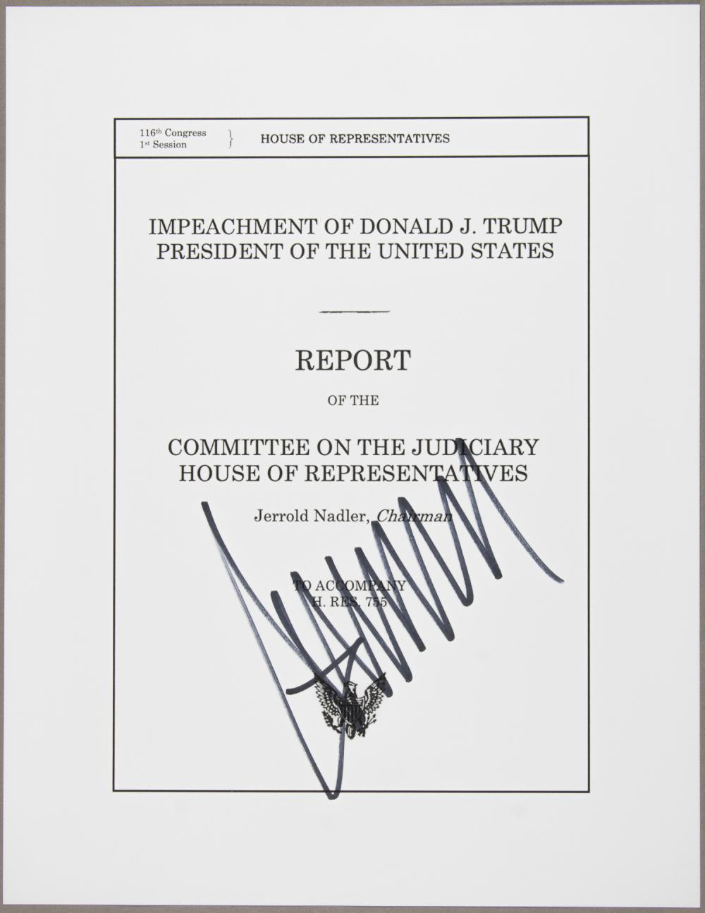DONALD TRUMP SIGNED IMPEACHMENT PROCEEDINGS COVER SHEET
