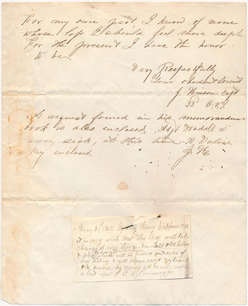 DEATH BEFORE ATLANTA - THE LAST LETTER, FINAL REQUEST, AND RELATED CORRESPONDENCE OF 1ST LT. CHARLES R. POMEROY, 33RD OHIO INFY.