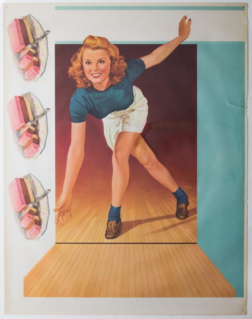 VINTAGE ICE CREAM AND BOWLING POSTER