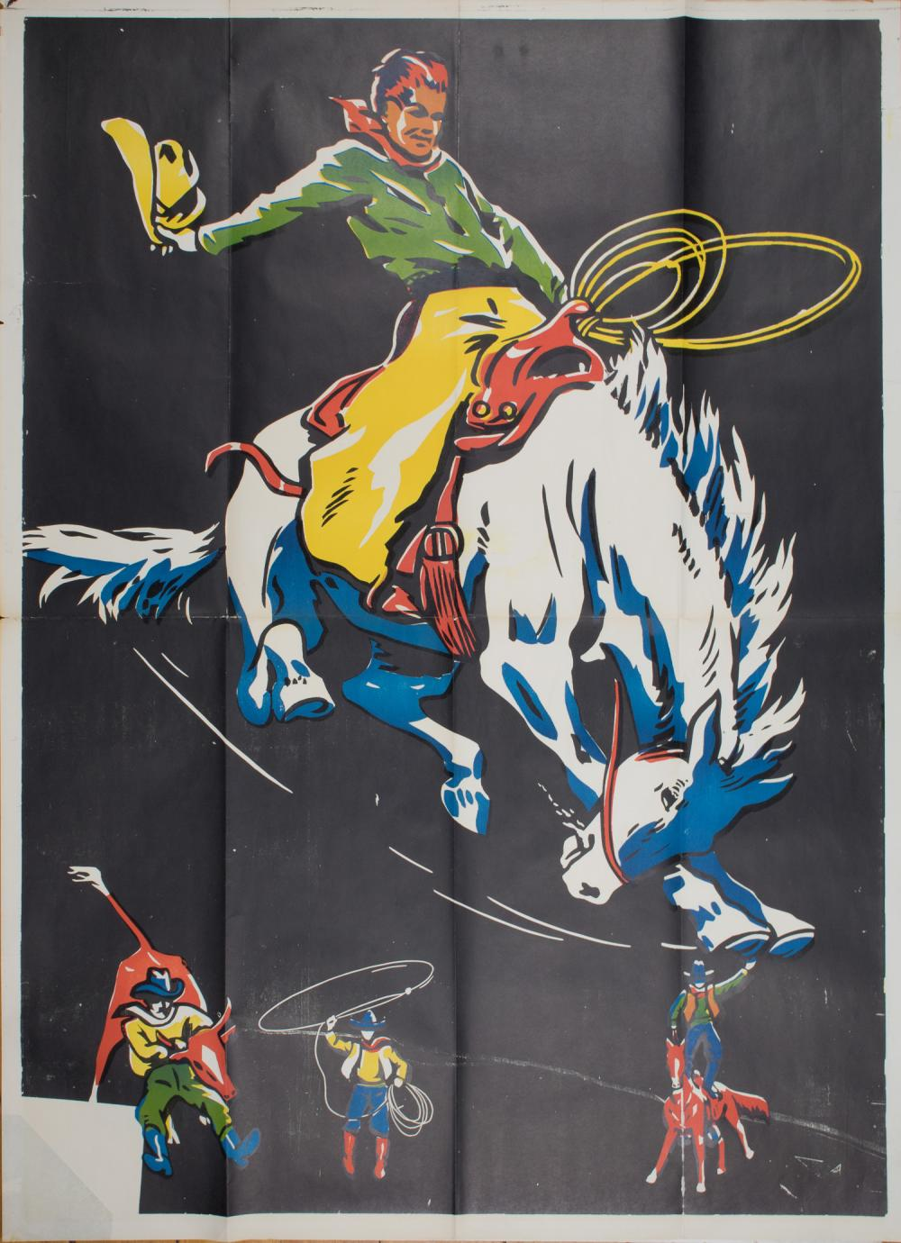 VINTAGE RODEO ADVERTISING POSTER, CA. 1940