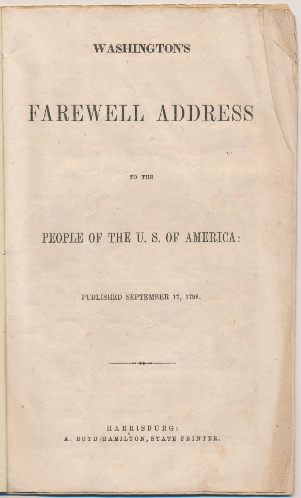 'WASHINGTON'S FAREWELL ADDRESS'