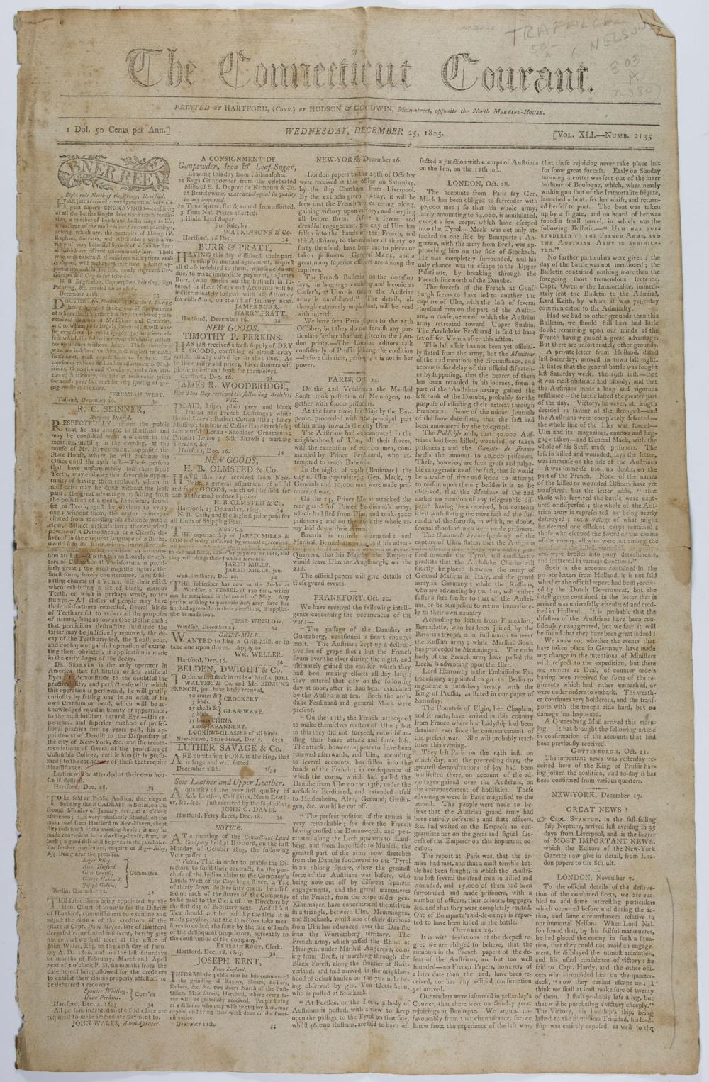 (BATTLE OF TRAFALGAR) DEATH OF ADMIRAL NELSON NEWSPAPER