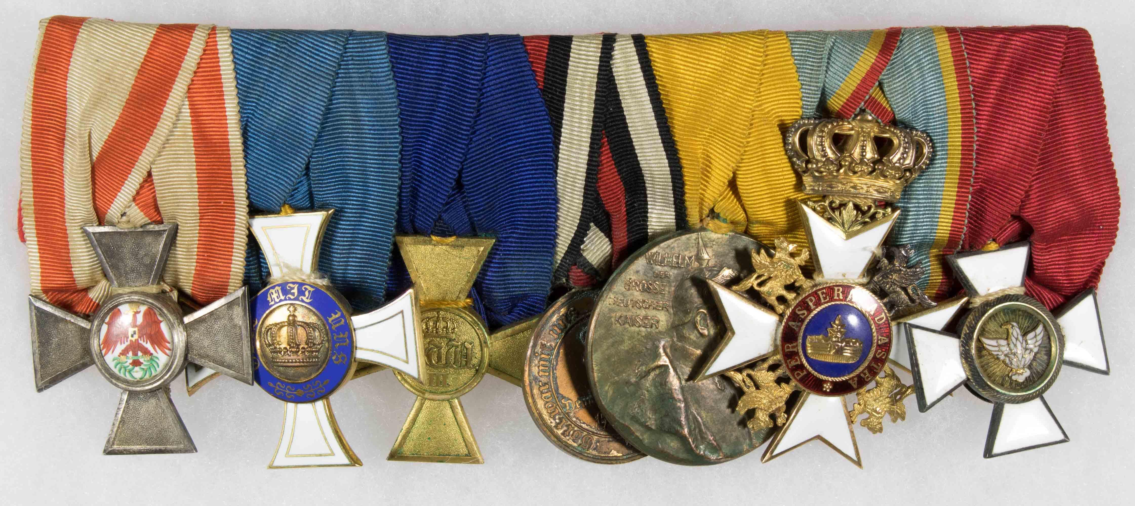 PRUSSIAN WORLD WAR I OFFICER'S MEDAL BAR (7)