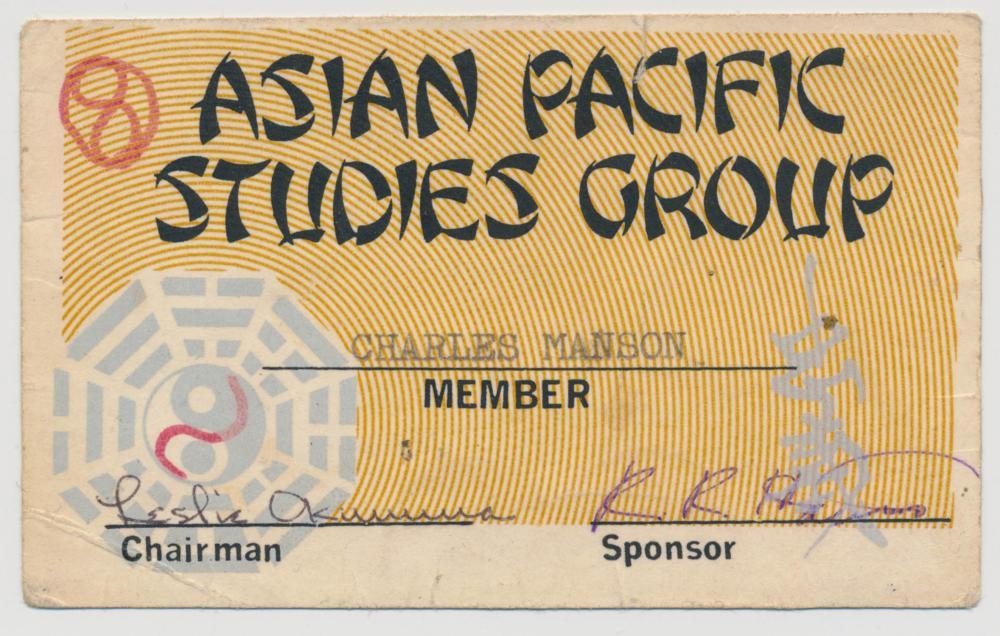 CHARLES MANSON PRISON STUDIES GROUP CARD