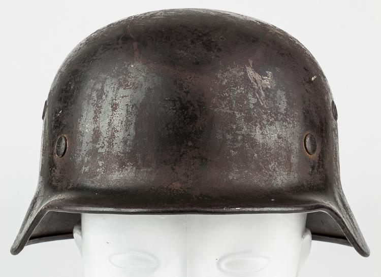 """WAFFEN-SS HELMET WITH """"BRING BACK"""" PAPER WORK"""