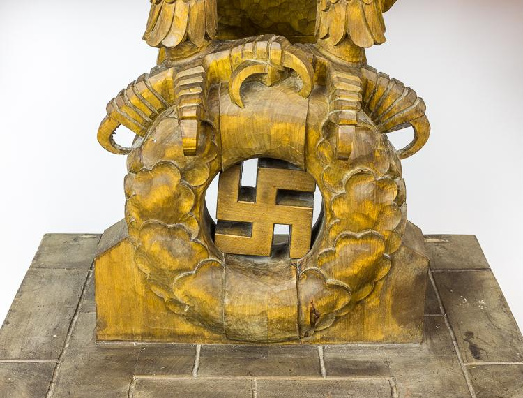 "MONUMENTAL ""NUREMBERG"" HAND-CARVED WOODEN EAGLE"