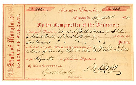 (ANTIETAM NATIONAL CEMETERY) AUGUSTUS BRADFORD - Current Bid: $100.00