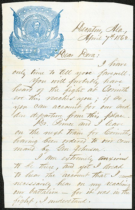 UNION SOLDIER WRITES HOME ON A CONFEDERATE LETTER SHEET - Current Bid: $240.00