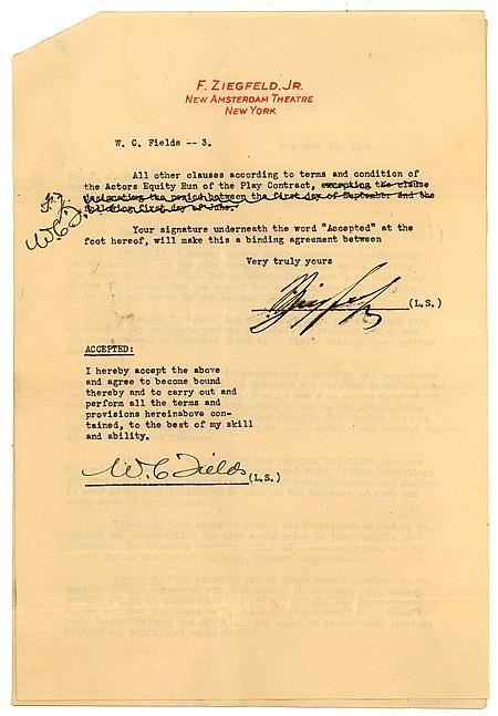 FLORENZ ZIEGFELD AND W. C. FIELDS - Current Bid: $400.00