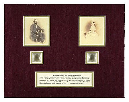 ABRAHAM AND MARY LINCOLN HAIR DISPLAY - Current Bid: $180.00