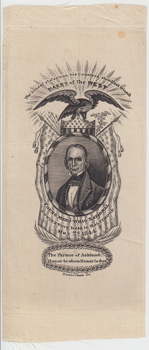1844 HENRY CLAY CAMPAIGN RIBBON - Current Bid: $220.00