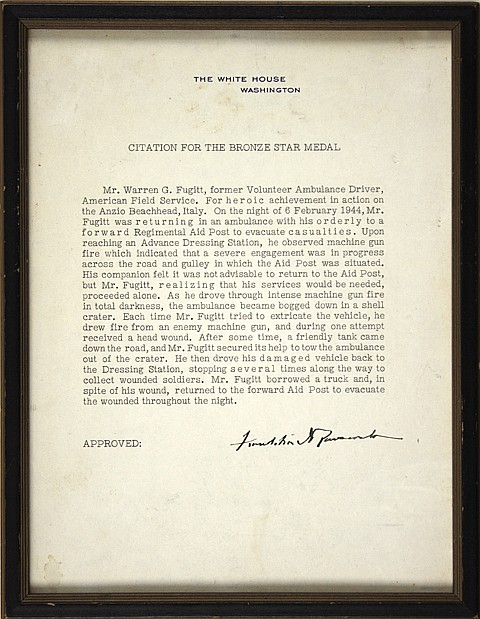 FRANKLIN D. ROOSEVELT BRONZE STAR CITATION ISSUED TO A CIVILIAN, WITH MEDAL - Current Bid: $2,750.00