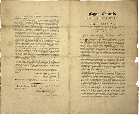 THE OFFICIAL ACT ESTABLISHING A PERMANENT STANDING ARMY IN THE U.S. - Current Bid: $1,500.00
