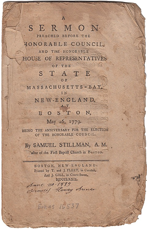 A BAPTIST PREACHER ADVOCATES SEPARATION OF CHURCH AND STATE, 1779 - Current Bid: $260.00