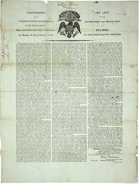 WASHINGTON AND JEFFERSON SEAMAN'S ACT, SIGNED BY A SHIP'S CREW - Current Bid: $160.00