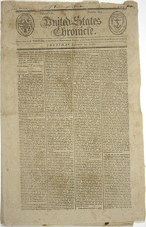 FRONT PAGE PRINTING OF WASHINGTON'S FAREWELL ADDRESS - Current Bid: $3,000.00