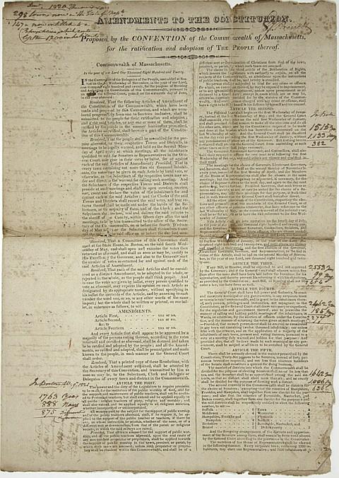 AMENDMENT OF THE CONSTITUTION OF MASSACHUSETTS - Current Bid: $260.00