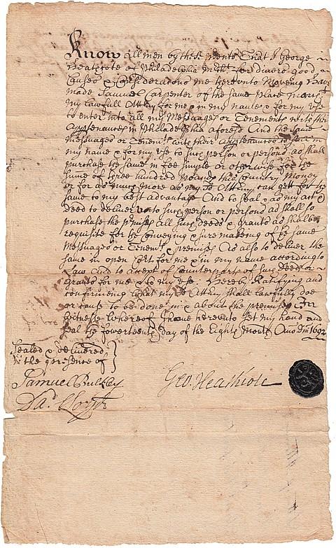 (EARLY PHILADELPHIA, PENNSYLVANIA) THOMAS LLOYD - Current Bid: $160.00