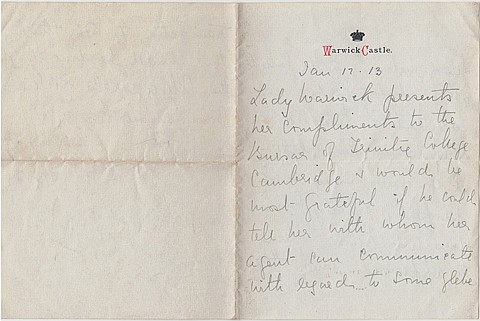 (EDWARD VII) FRANCES EVELYN 'DAISY' GREVILLE, COUNTESS OF WARWICK - Current Bid: $80.00