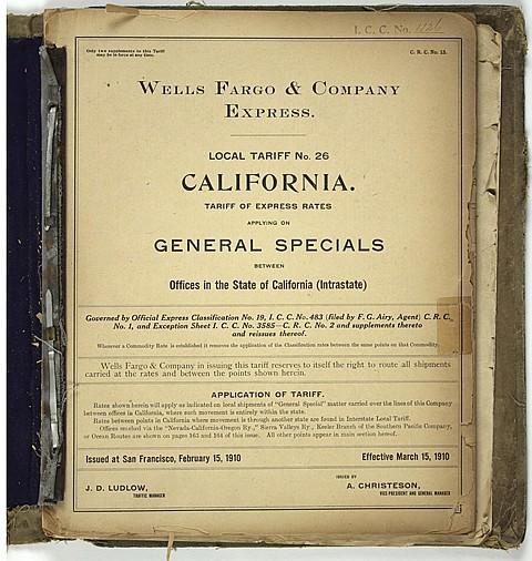 1910 WELLS FARGO SAN FRANCISCO TARIFF LIST - Current Bid: $80.00