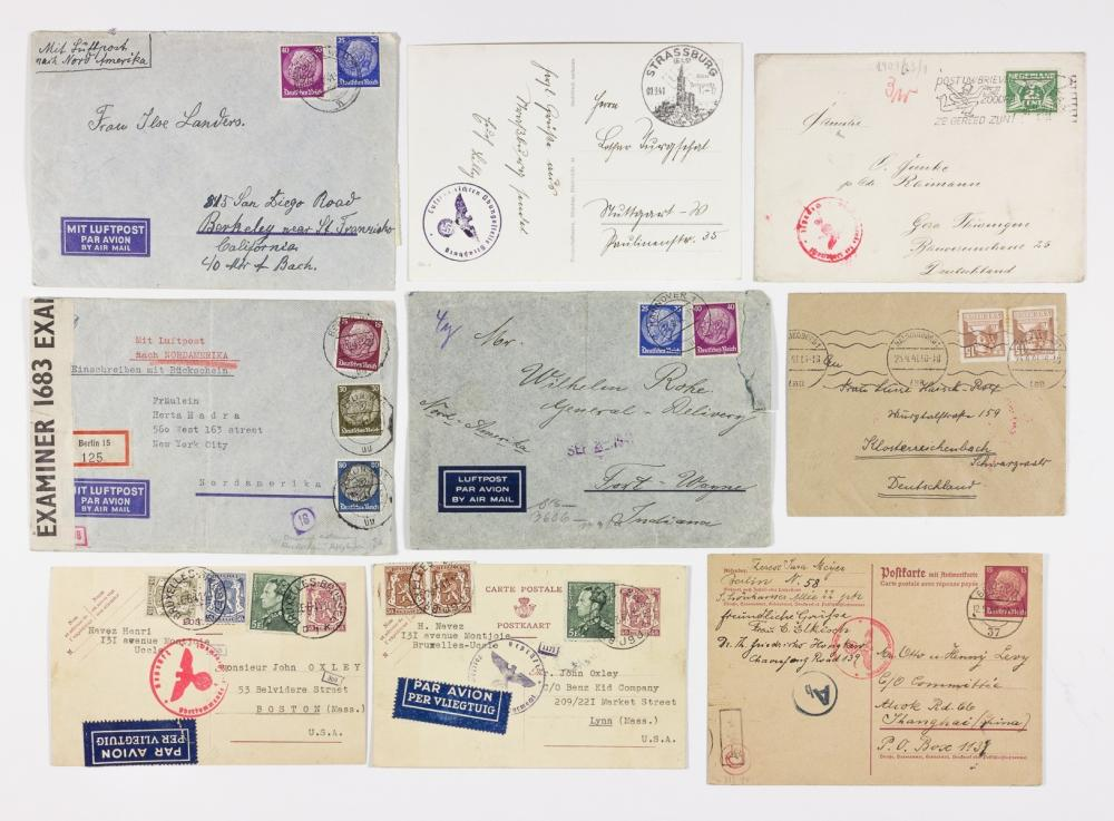(GERMAN POSTAL HISTORY) CENSORED MAIL TO AND FROM FOREIGN COUNTRIES