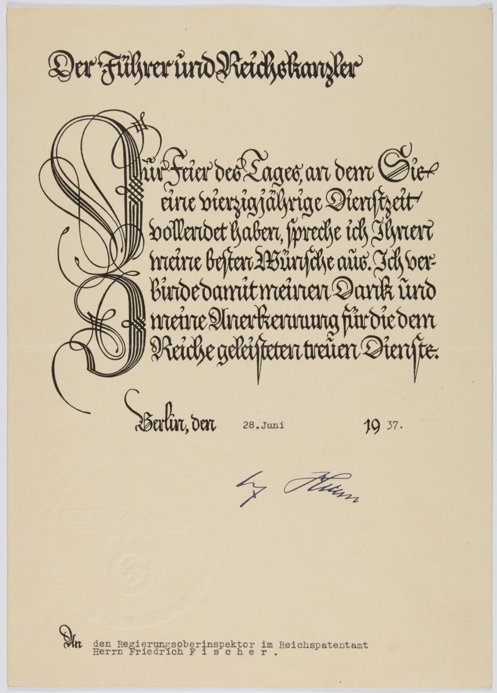 GERMAN 40 YEAR SERVICE AWARD