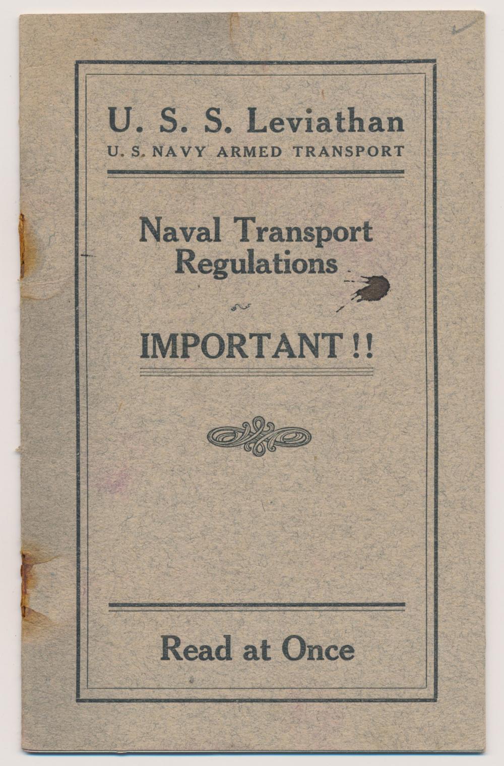 USS LEVIATHAN TRANSPORT REGULATIONS