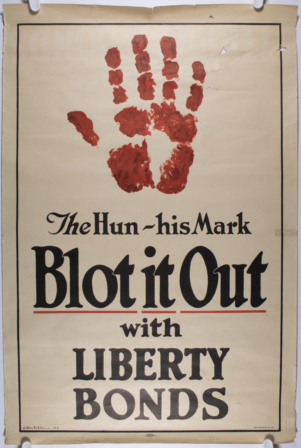 'THE HUN - HIS MARK' WORLD WAR I POSTER