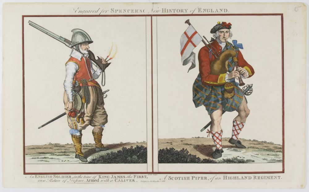 HISTORIC BRITISH UNIFORMS ENGRAVING FROM 'SPENCER'S HISTORY OF ENGLAND'