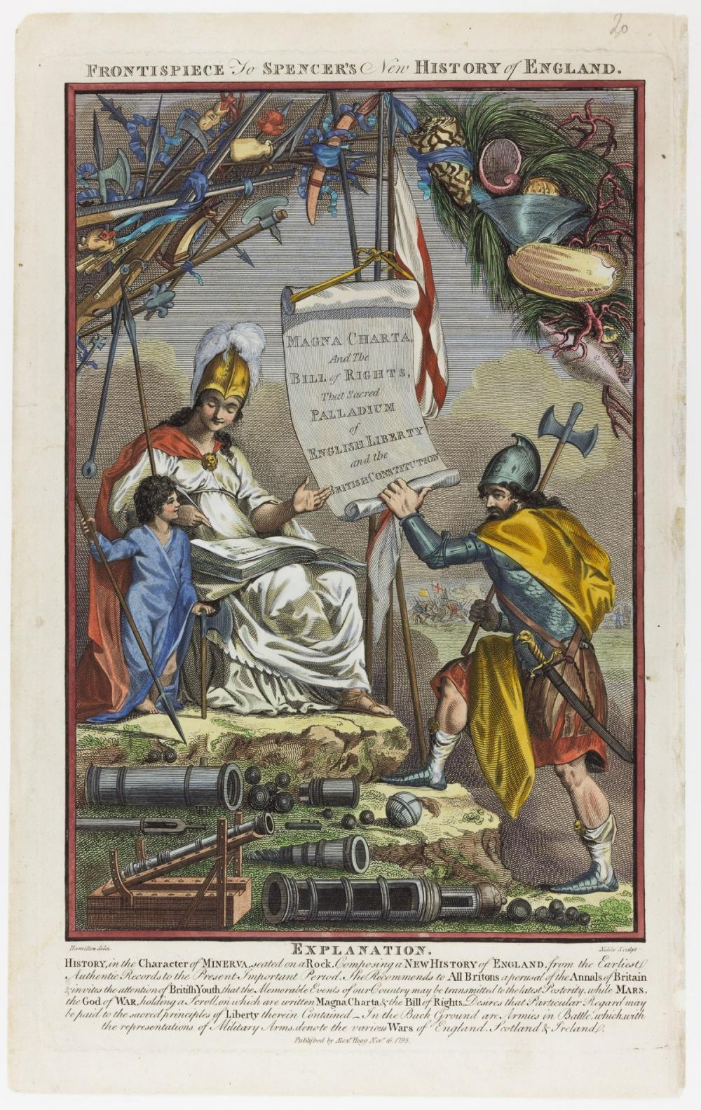 PATRIOTIC FRONTISPIECE ENGRAVING FOR SPENCER'S NEW HISTORY OF ENGLAND