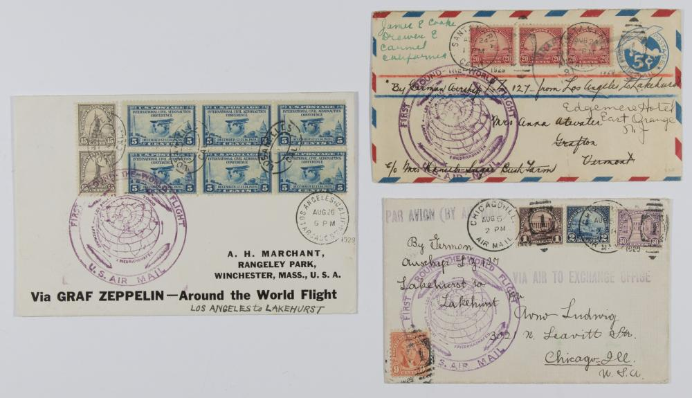 ZEPPELIN 'ROUND THE WORLD FLIGHT' COVERS (3)