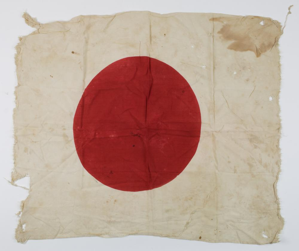 BLOOD-STAINED, BATTLE-DAMAGED JAPANESE NATIONAL FLAG