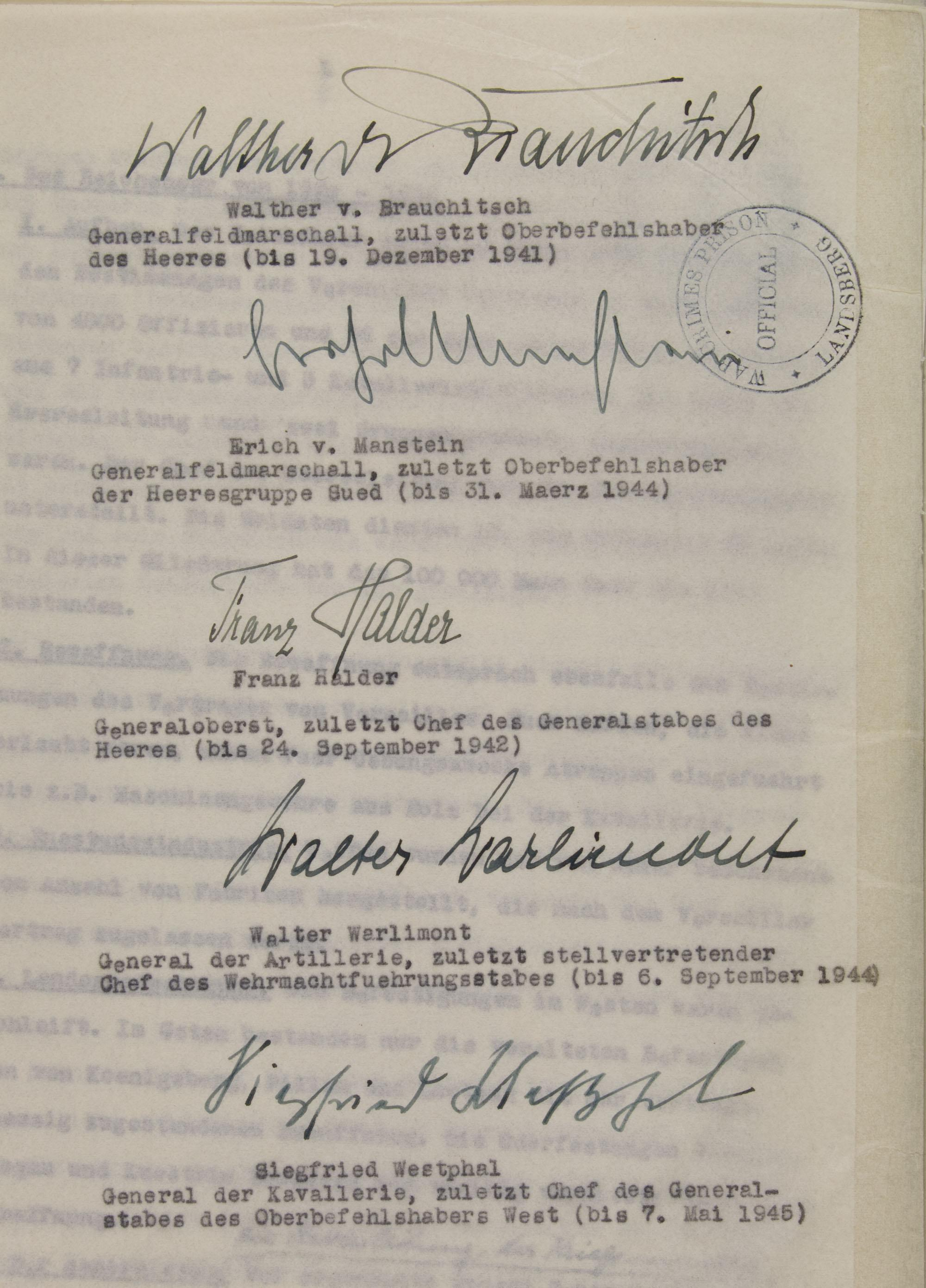 WALTER WARLIMONT'S COPY OF THE 'DECLARATION BY THE FIVE GERMAN GENERALS', PLANNED FOR NUREMBERG