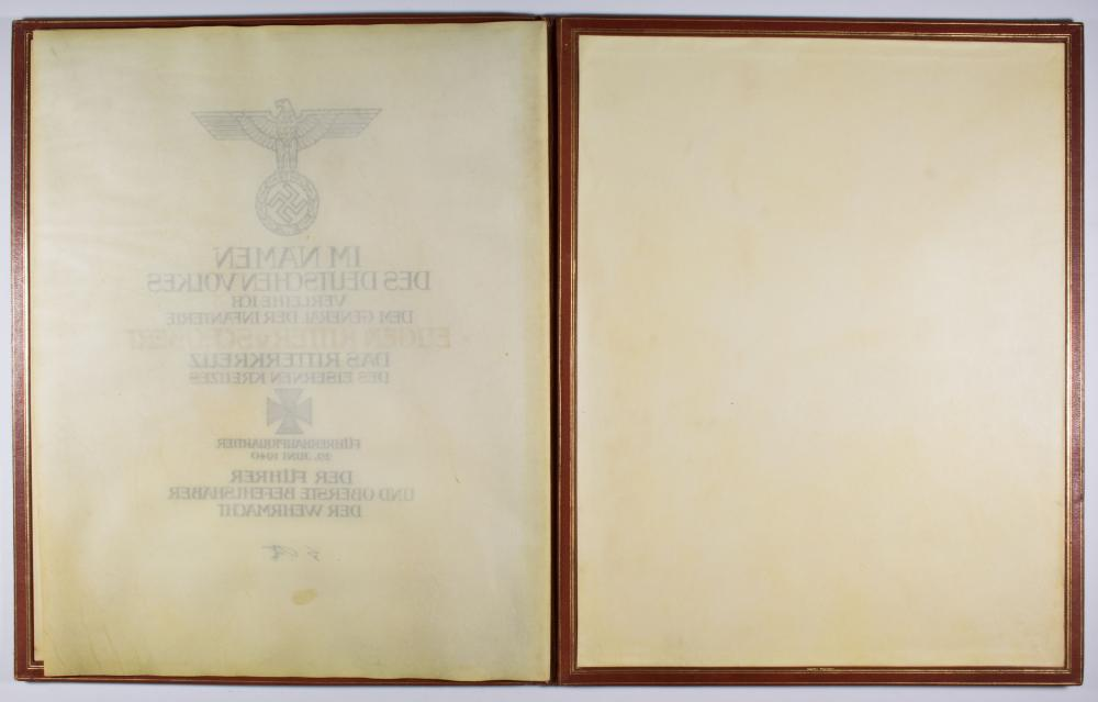 KNIGHTS CROSS AWARD OF GEN. EUGEN VON SCHOBERT, K.I.A. EASTERN FRONT