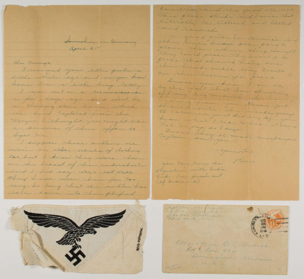 LETTER AND 'SOUVENIR' LUFTWAFFE PATCH SENT HOME FROM U.S. SOLDIER