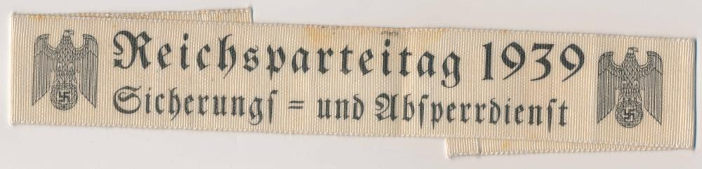 REICHS PARTY DAY 1939 ARMBAND