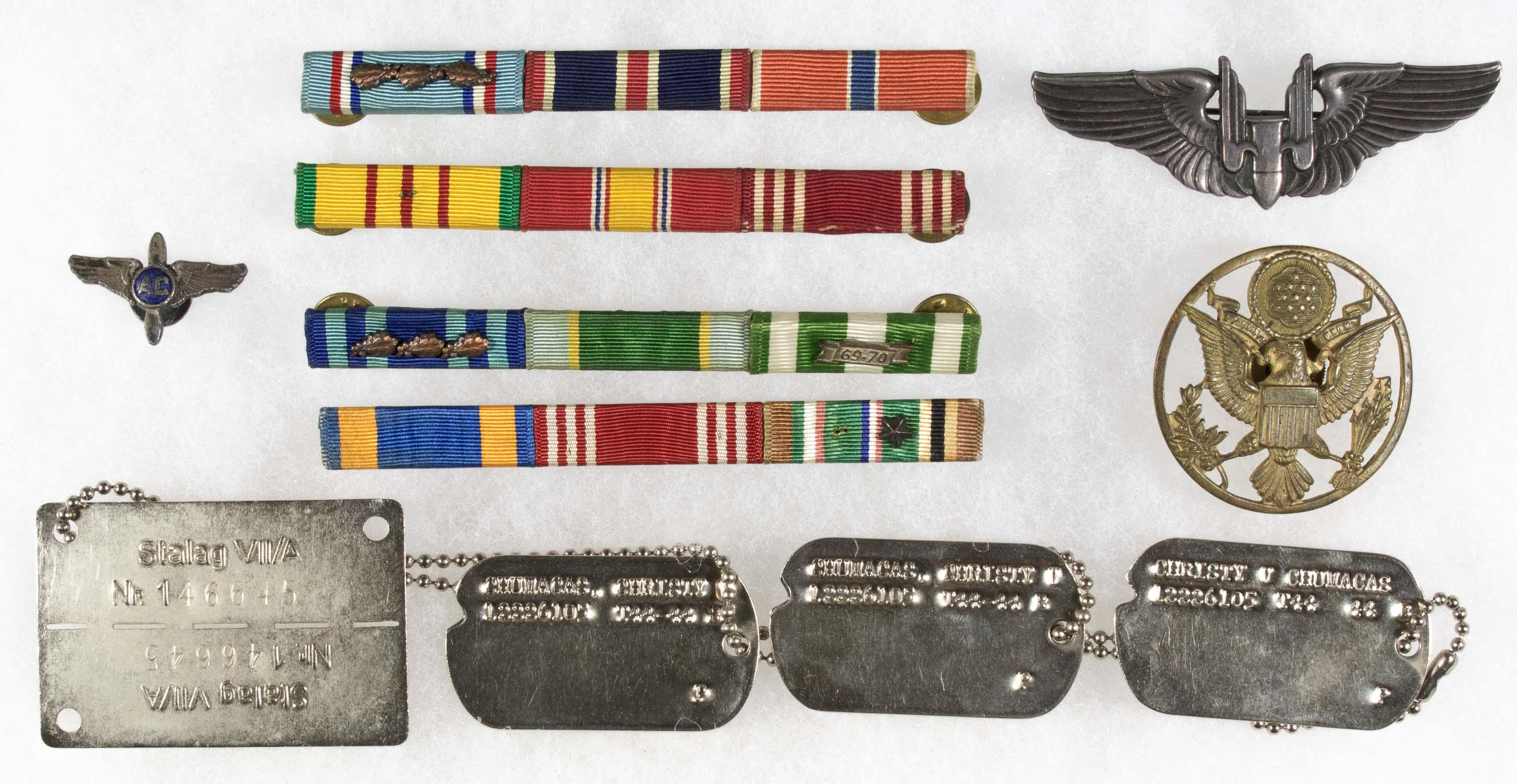 U.S. BOMBADIER AND GERMAN P.O.W'S INSIGNIA GROUPING