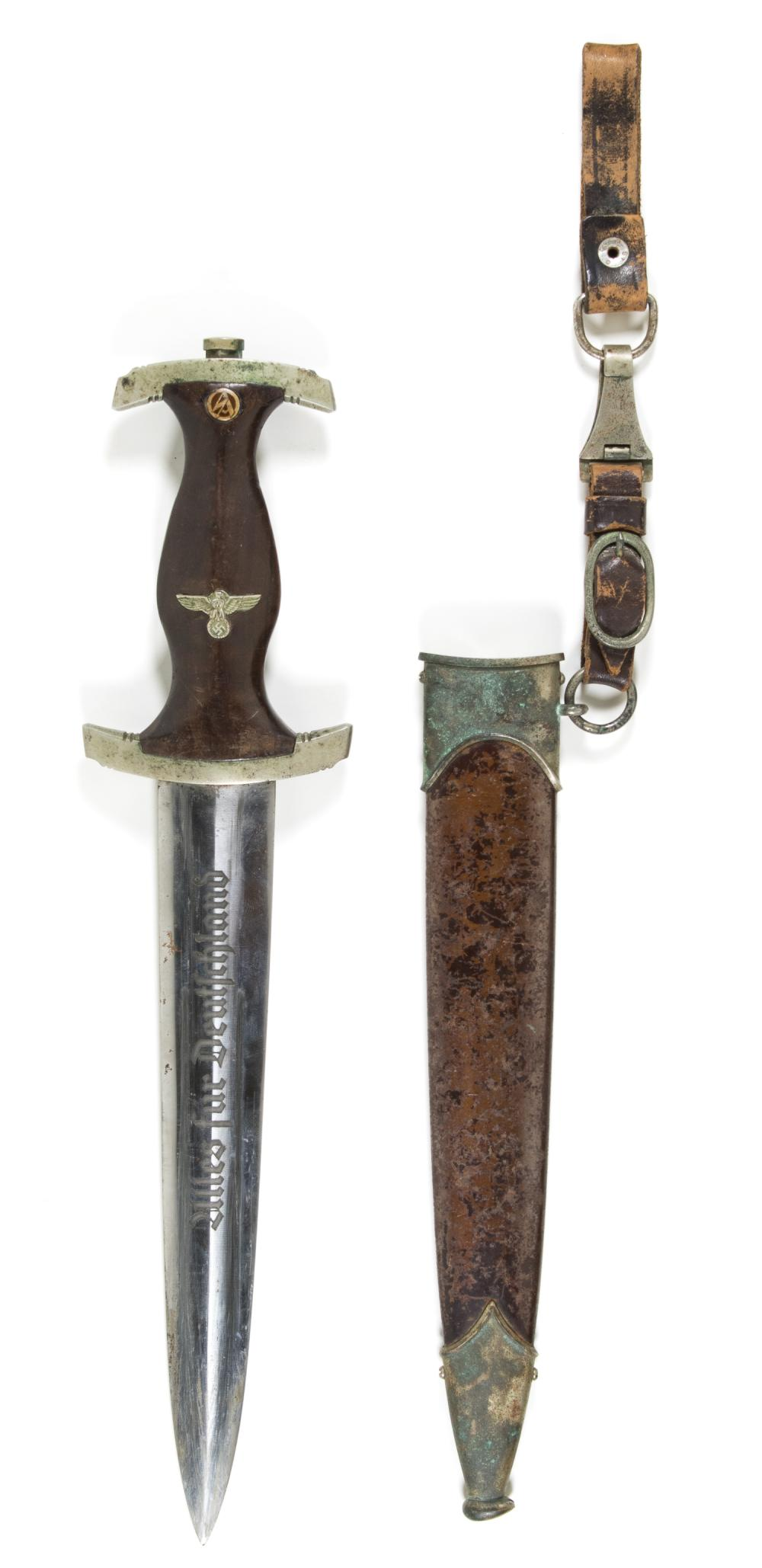 EARLY S.A. DAGGER WITH SCABBARD AND HANGER