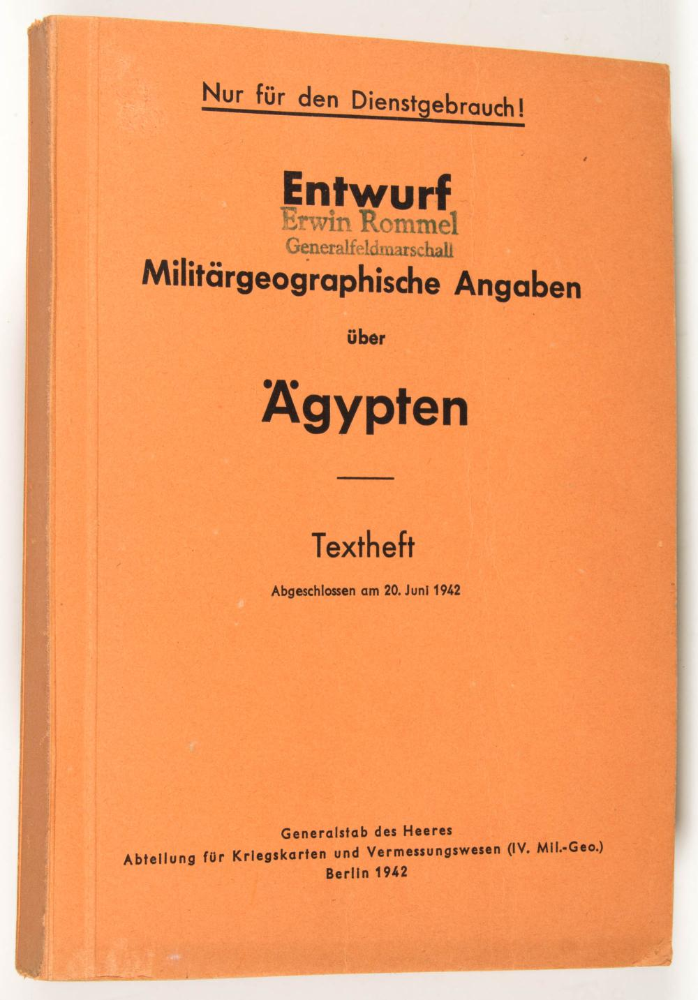 ERWIN ROMMEL'S 'GEOGRAPHY OF EGYPT' BOOK