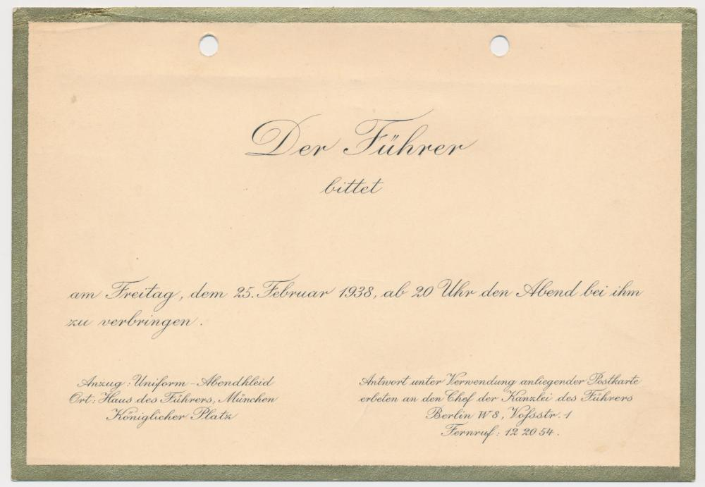 HITLER DINNER INVITATION