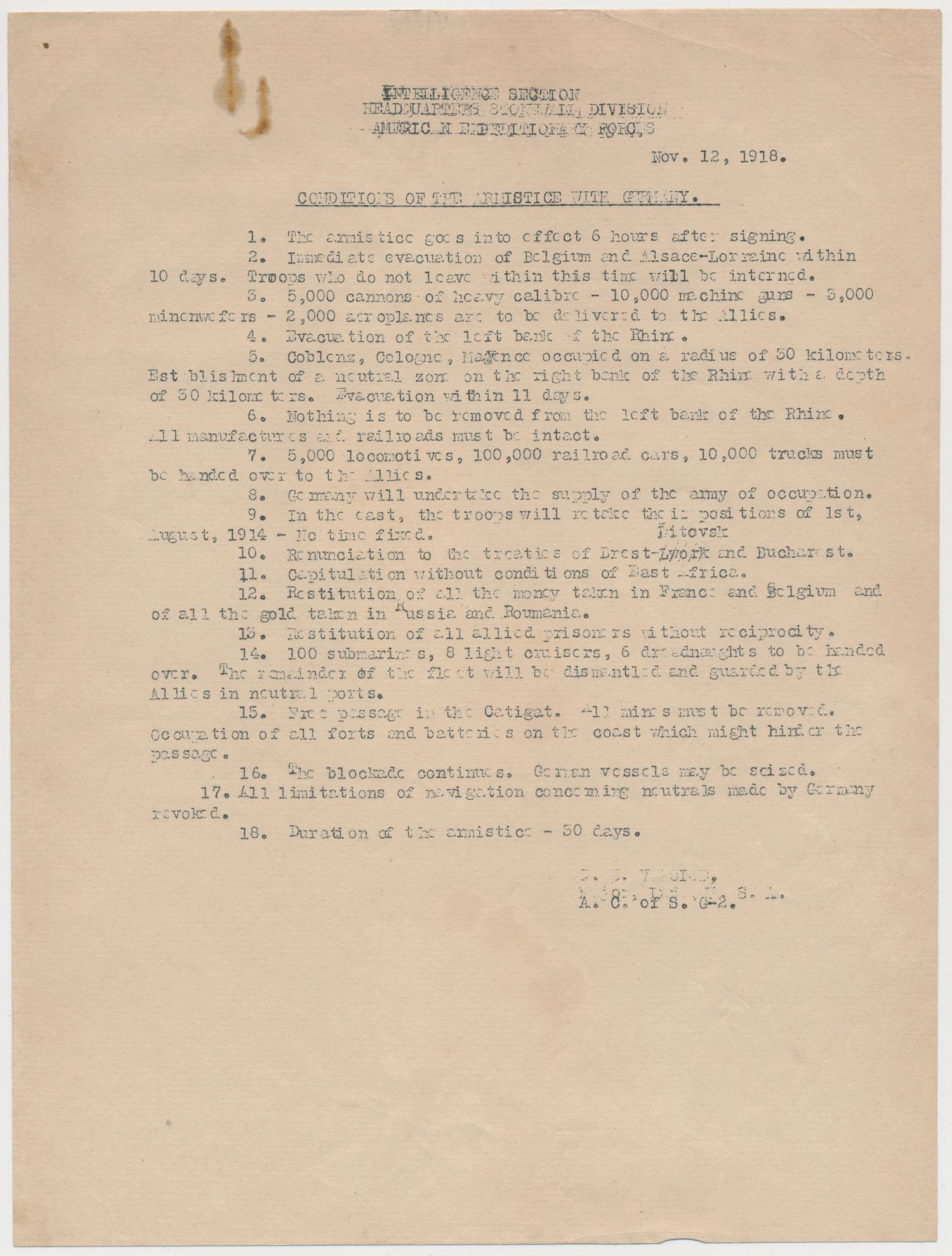 ALLIED 'CONDITIONS OF THE ARMISTICE WITH GERMANY'