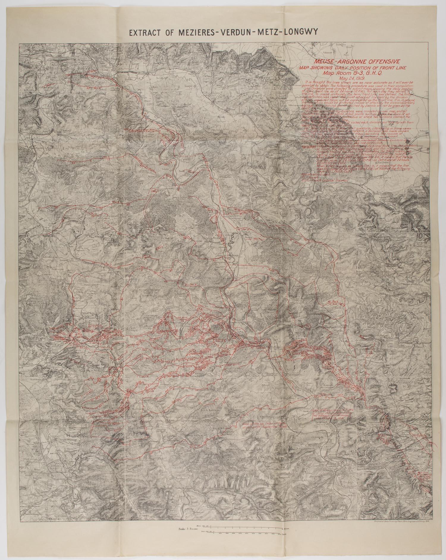 MAP OF VERDUN SECTOR SHOWING MEUSE-ARGONNE OFFENSIVE