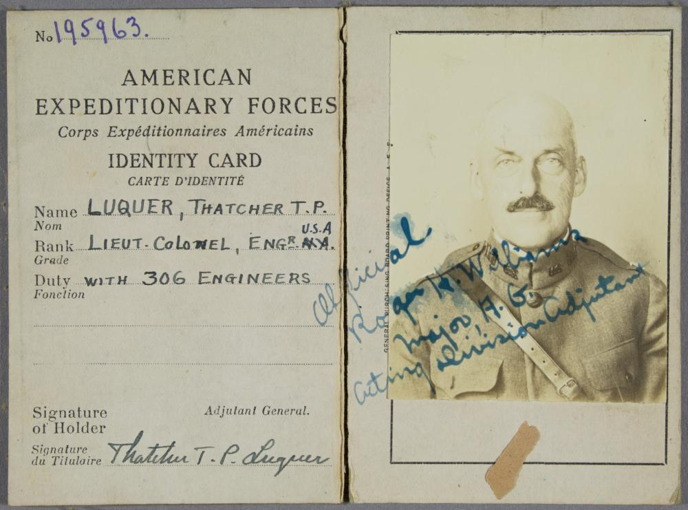 NON-COMBAT ARCHIVE OF THATCHER T. P. LUQUER, COMMANDER OF THE 306TH ENGINEERS REGIMENT
