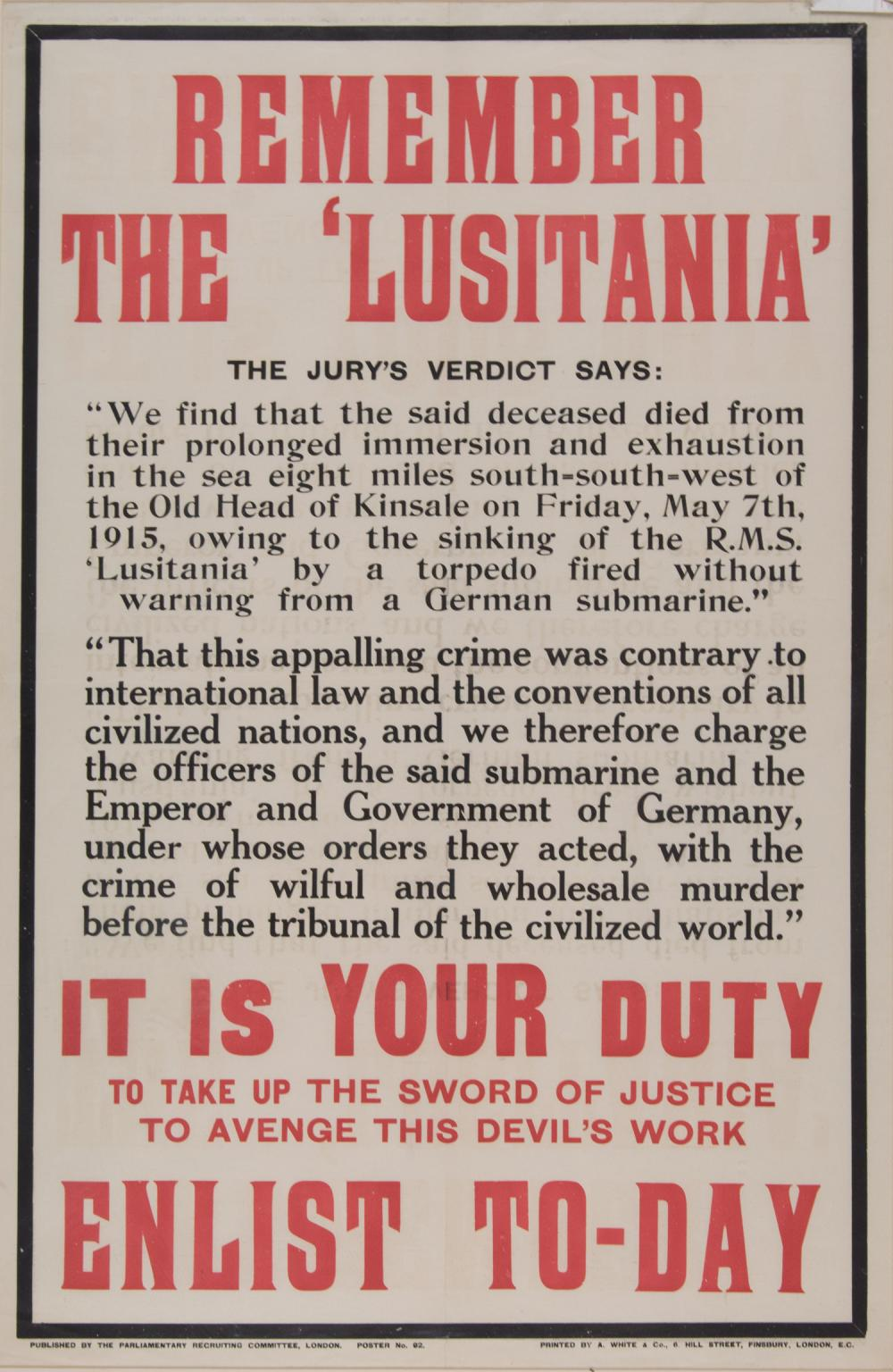 BRITISH 'REMEMBER THE LUSITANIA!' ENLISTMENT POSTER