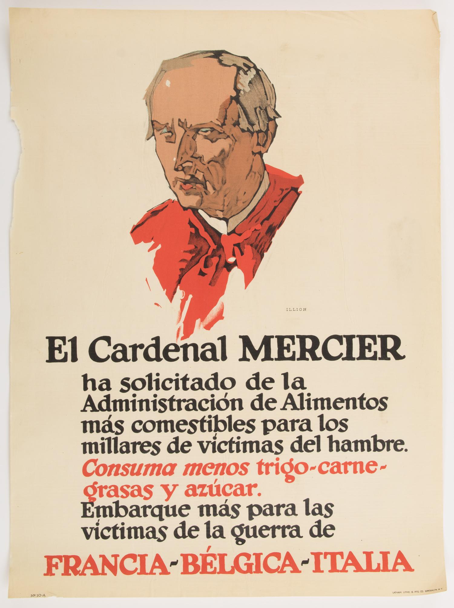 CARDINAL MERCIER WORLD WAR I PROPAGANDA POSTER