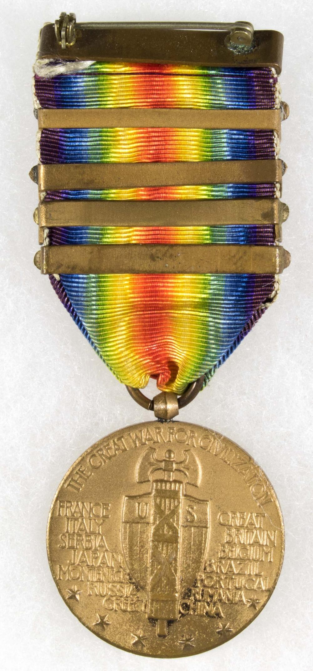 U.S. SOLDIER'S EARLY DOG TAG NECKLACE AND VICTORY MEDAL