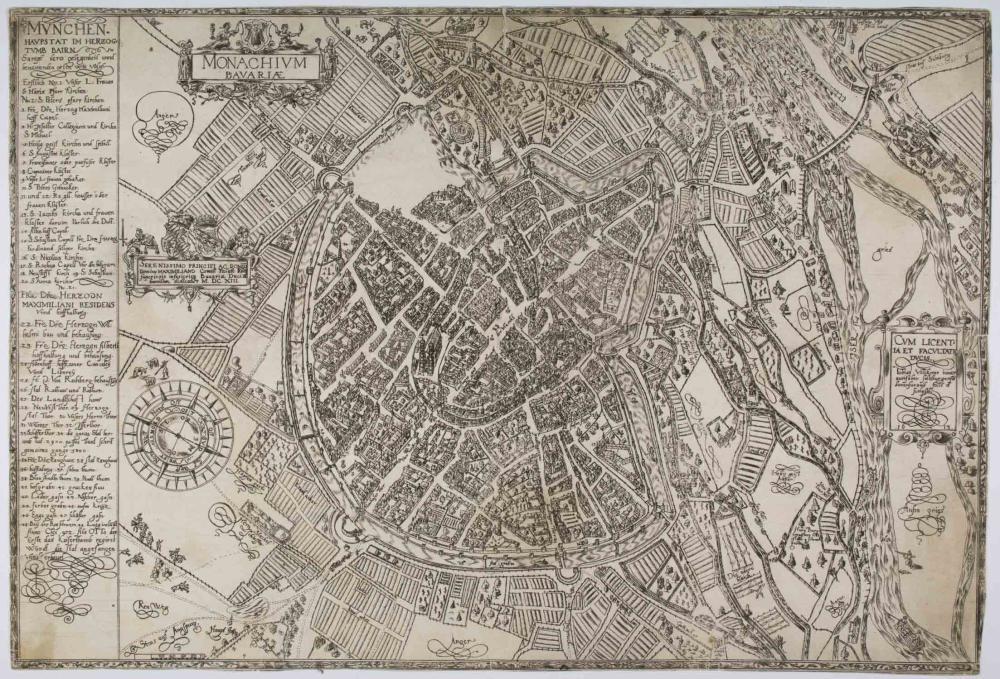 THE FIRST ETCHED CITY MAP OF MUNICH: 'MONARCHIUM BAVARIAE. GESAMTANSICHT AUS DER VOGELSCHAU'