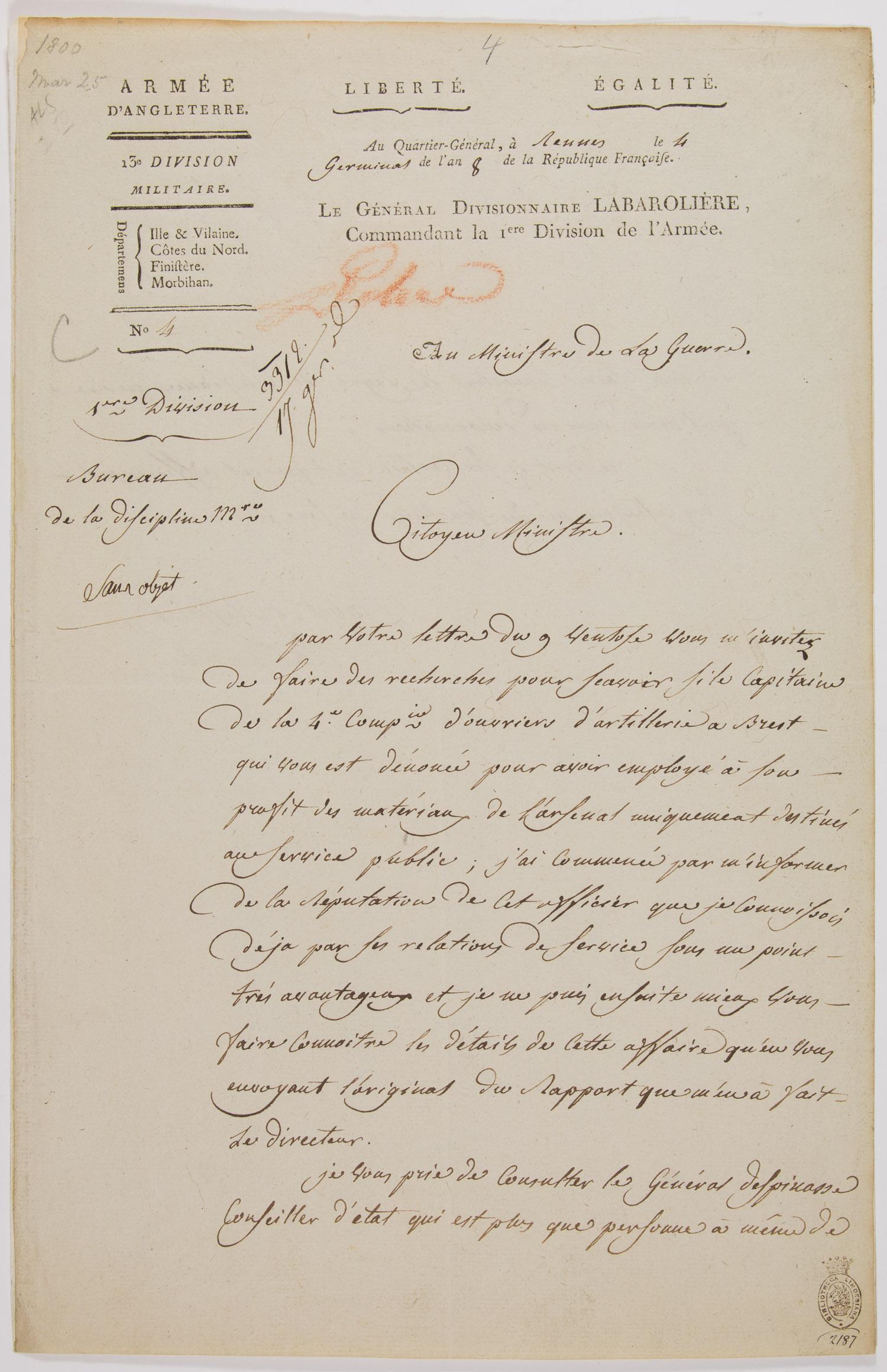 (NAPOLEONIC WARS) JACQUES MARGUERITE PILOTTE DE LA BAROLLIERE