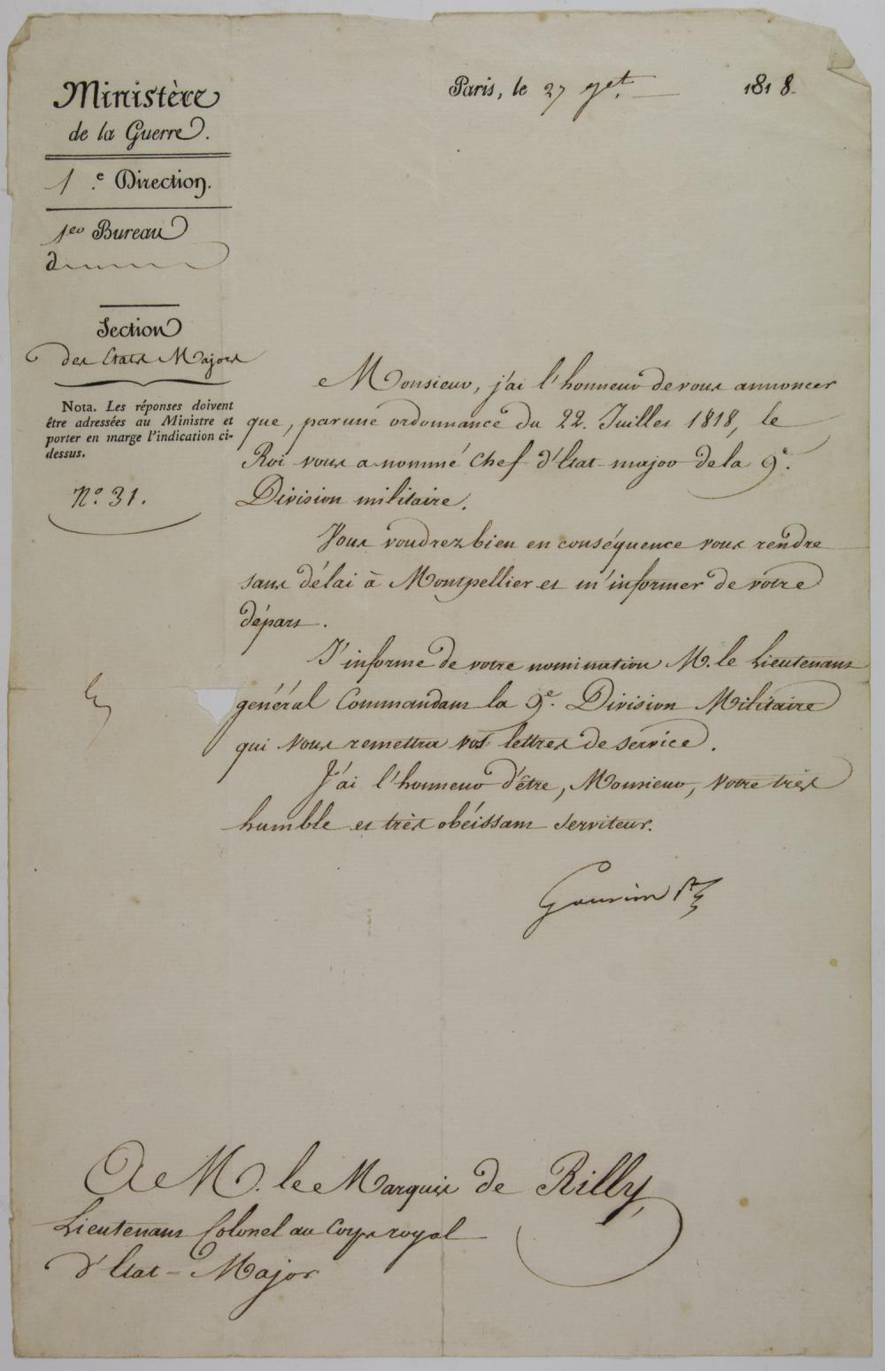 (NAPOLEONIC WARS) LAURENT DE GOUVION SAINT CYR